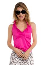 Gretchen Scott Designs Jersey Sleeveless Ruffneck Top Pink - Large