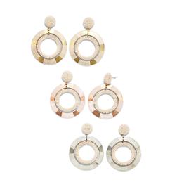 Seed Bead Double Hoop Earrings - Assorted Colors