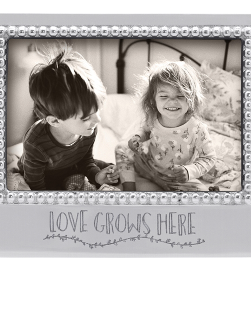 "Mariposa Love Grows Here Beaded Frame - 4""x6"""
