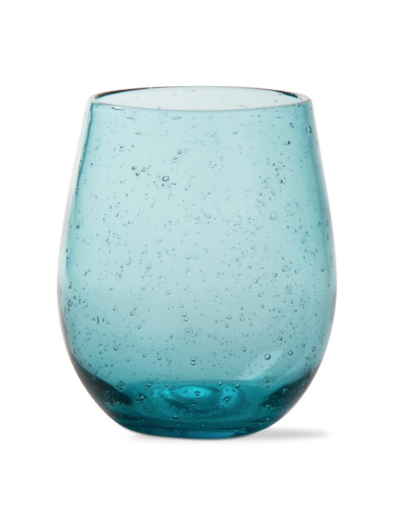Bubble Glass Stemless Wine Glass - Aqua Blue