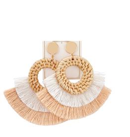 Rattan Tassel Earrings - Cream