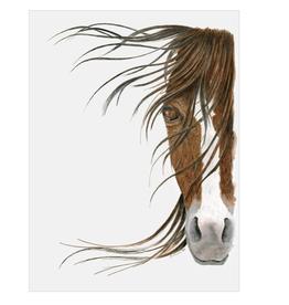 "Brown Horse Portrait Art Print in Rustic Drift Frame - 23""x29"""