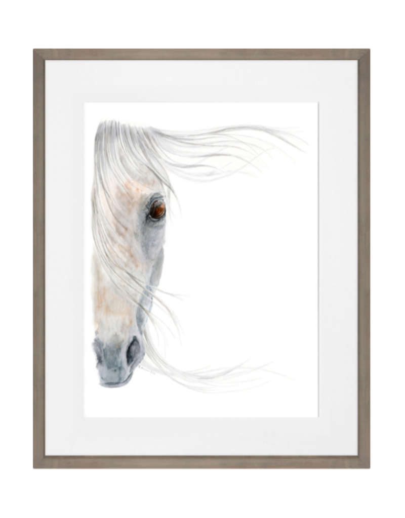 "White Horse Portrait Art Print in Rustic Drift Frame - 23""x29"""