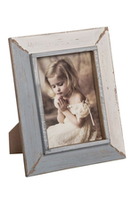 """Blue-Gray and White Photo Frame - 5""""x7"""""""