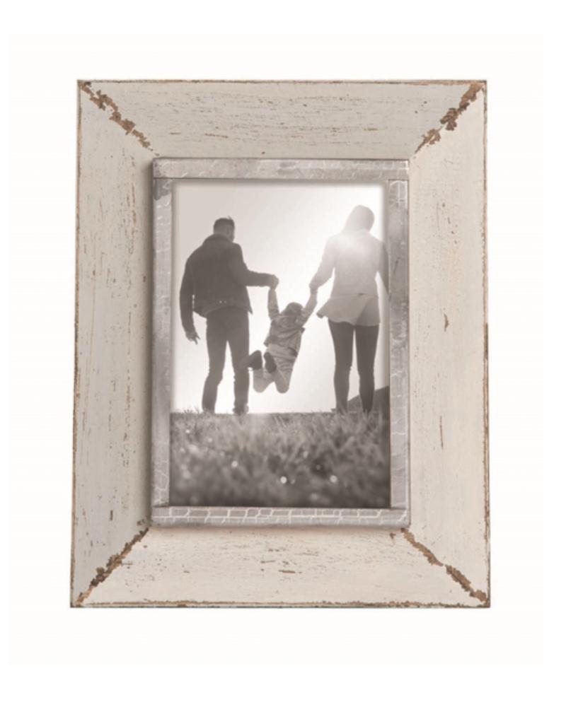 "Warm-Gray and White Photo Frame - 4""x6"""