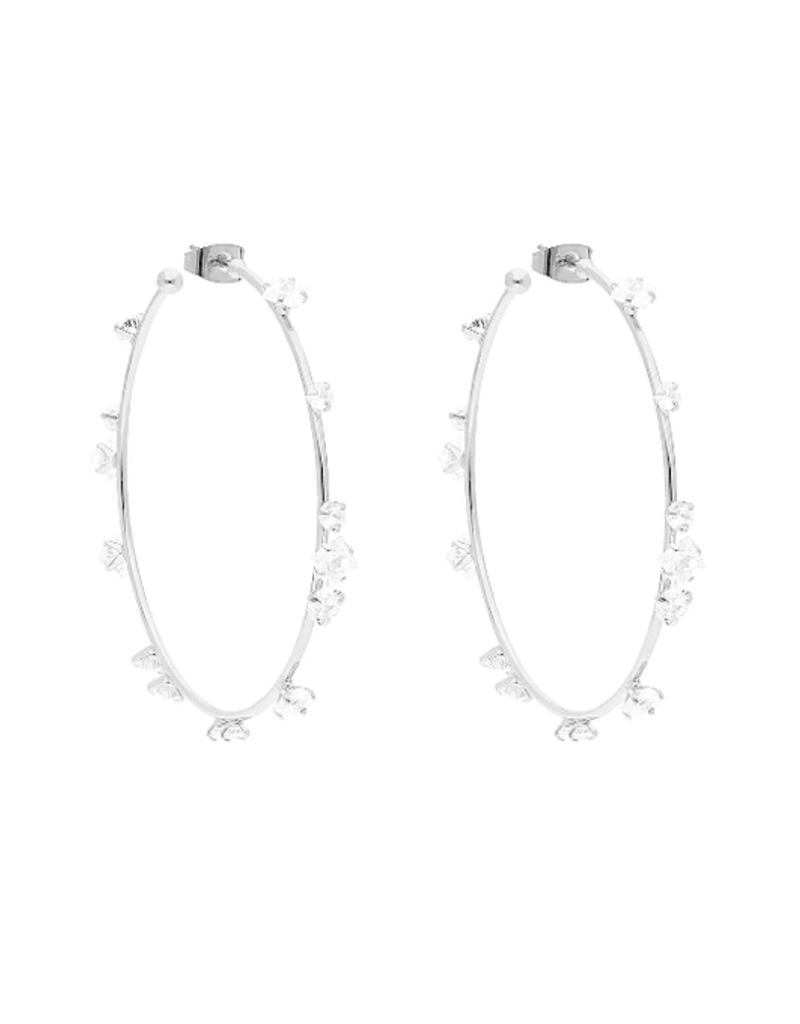 Silver and Crystal Hoop Earrings - Large