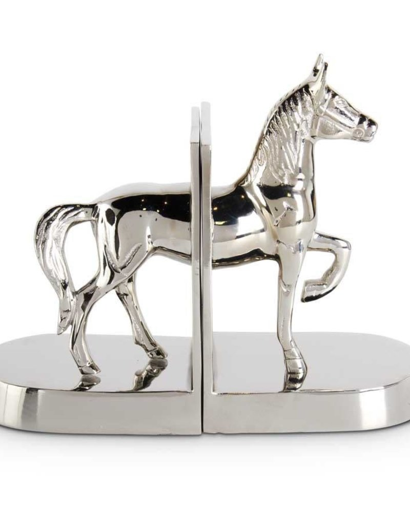 """Polished Silver Metal Horse Bookends - 10"""""""