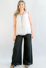 Lenore Black Linen Pants - Small/Medium