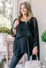 Katerina Layer Silk Top - Black