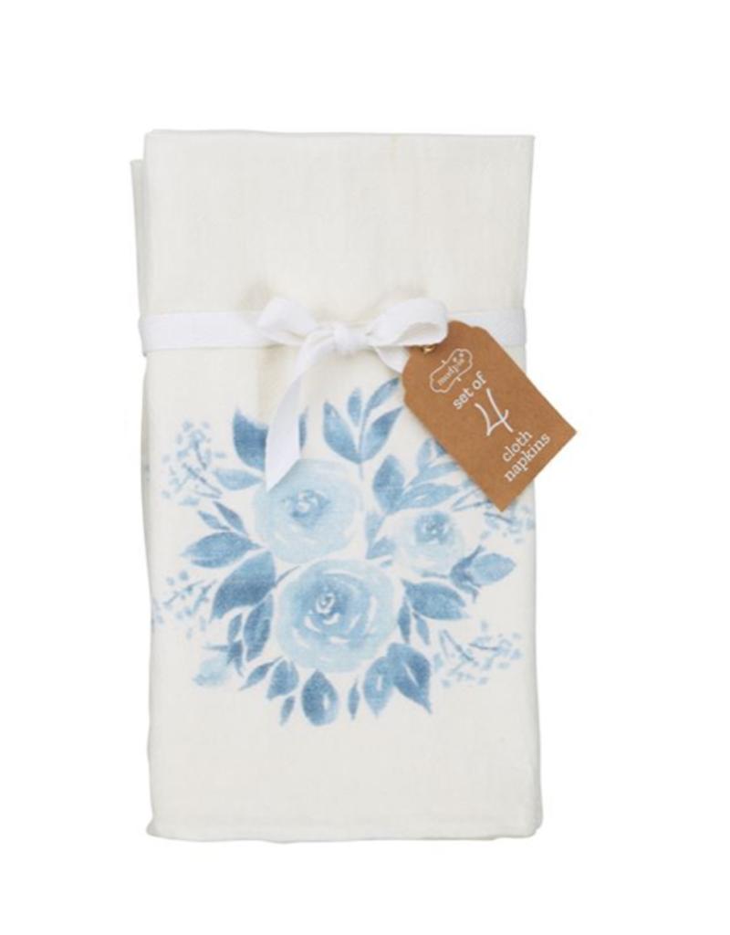 Bouquet Blue Print Cloth Napkin Set of 4