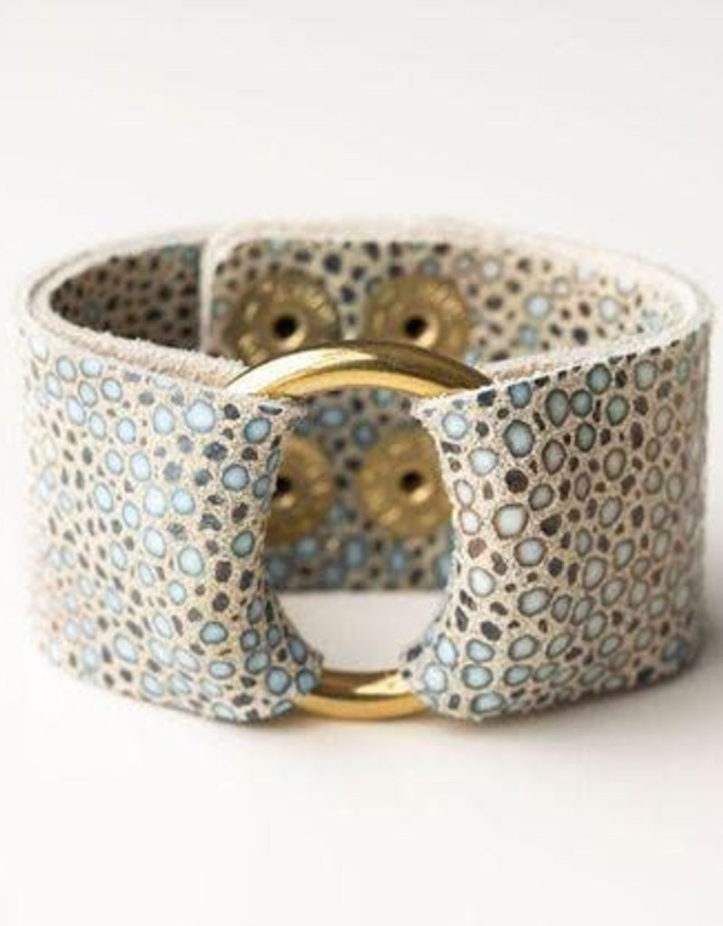 Multi Color Speckled On Cream Wide Leather Cuff