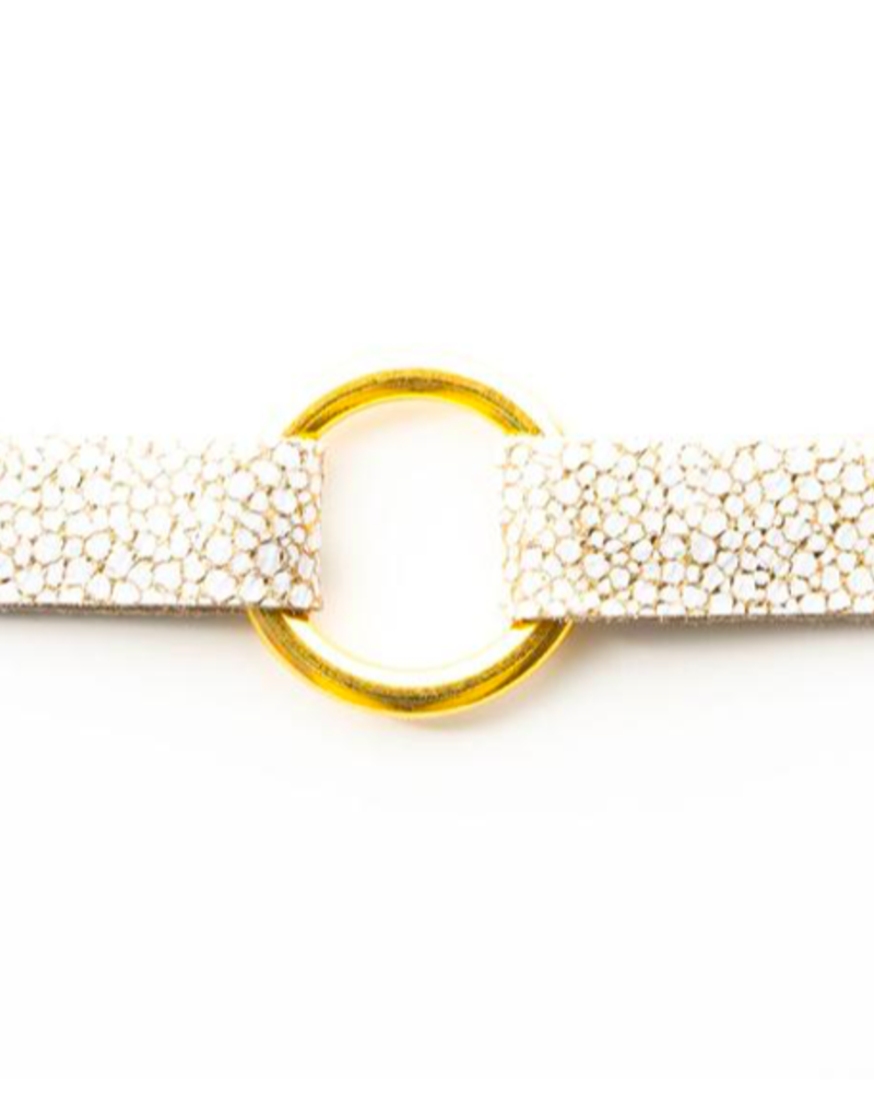 White With Gold Speckled Leather Bracelet