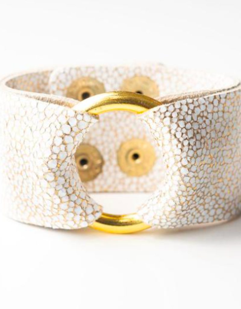 White With Gold Speckled Wide Leather Cuff