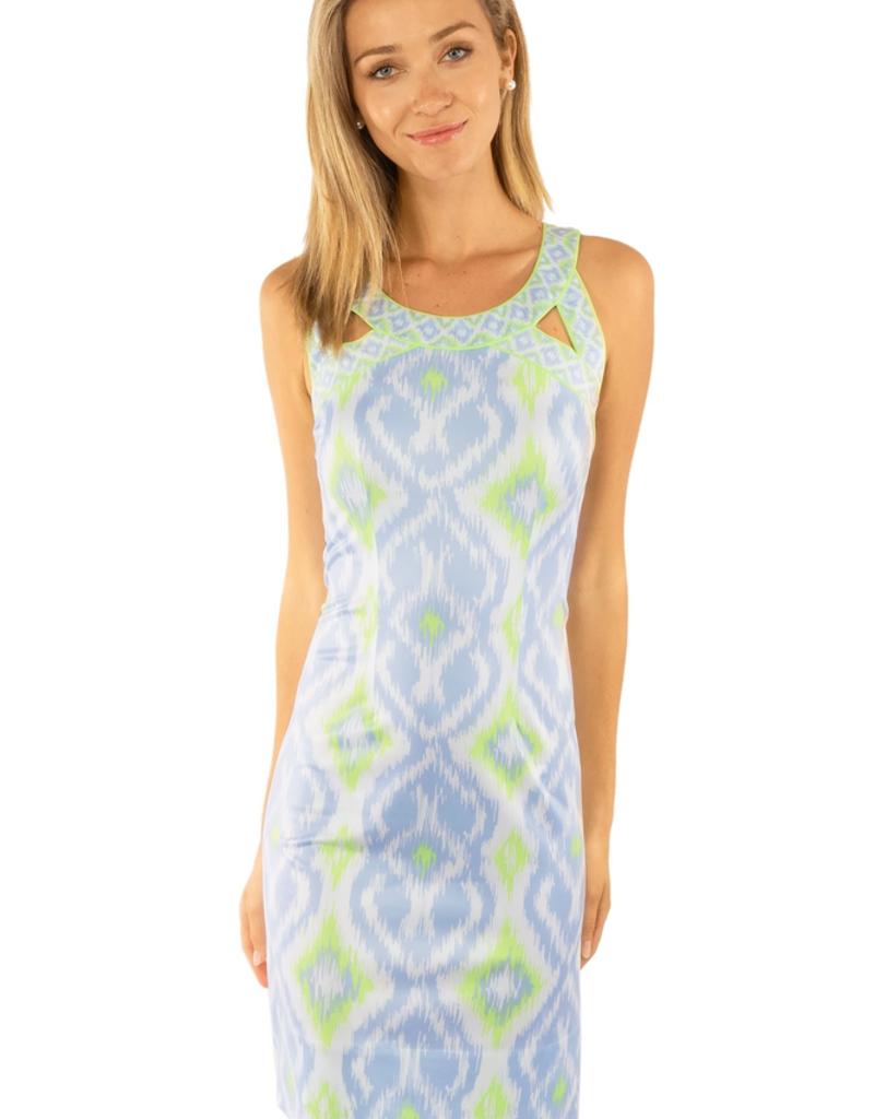 Gretchen Scott Designs Jersey Isosceles Kitt Ikat Dress - Periwinkle/Lime - Small