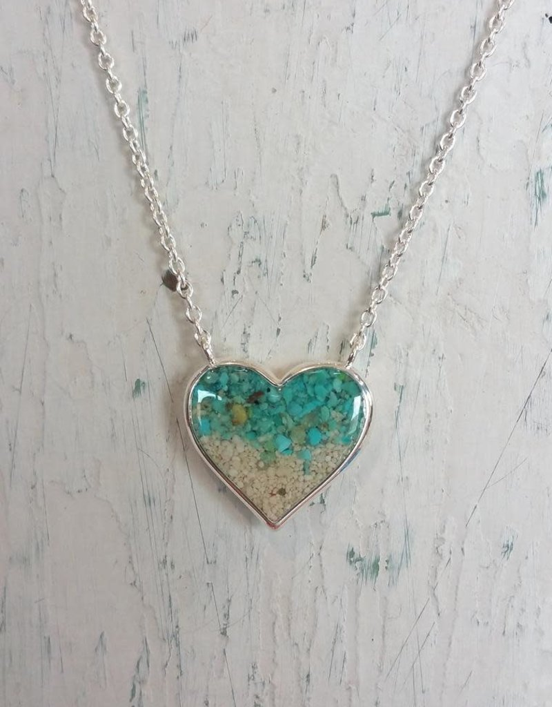 Dune Jewelry Full Heart Stationary Necklace - Gradient - Turquoise/Paradise Island
