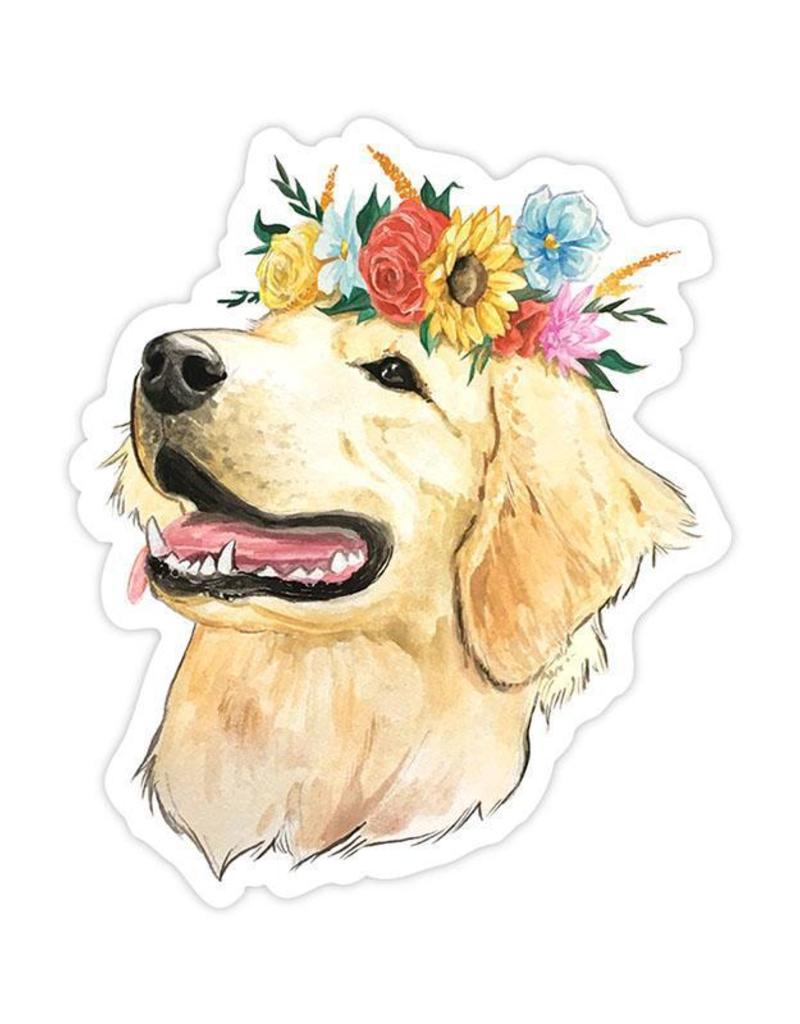 Flower Crown Golden Retriever Sticker