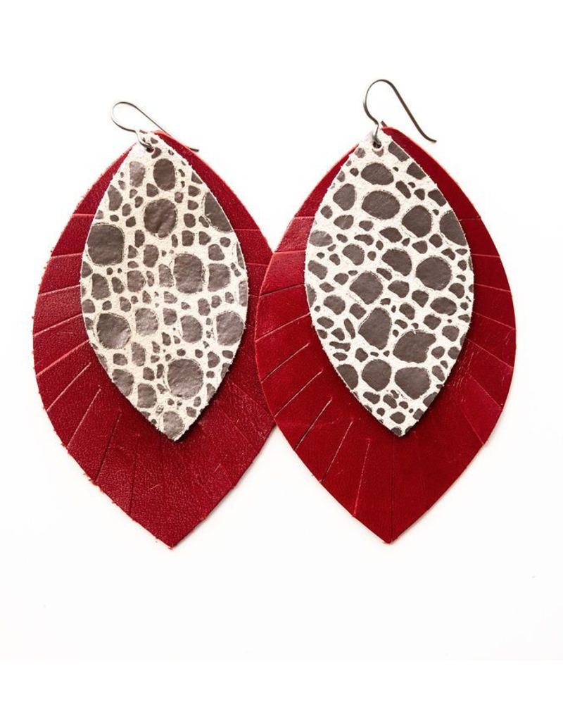 Black on White Speckled Earring with Red Fringe Base