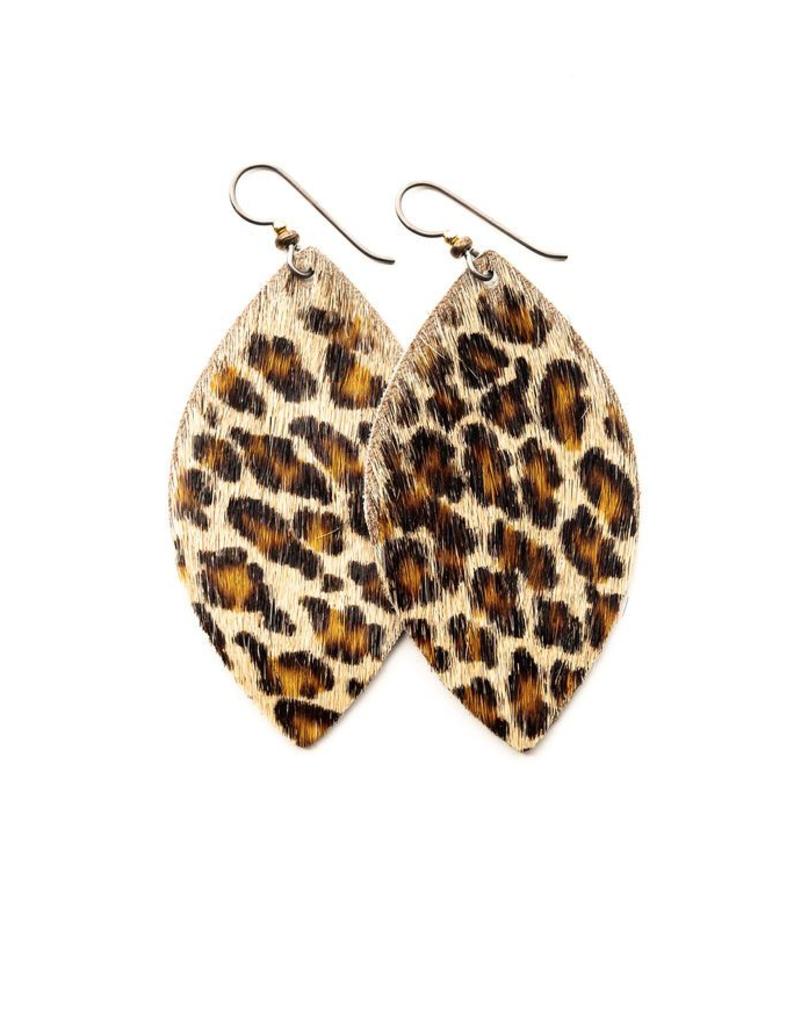 """Leopard Petite 1.5"""" Leather Earrings"""
