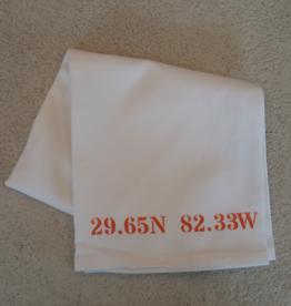 White Tea Towel - Gainesville 29.65N 82.33W - Orange