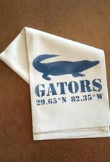 White Tea Towel - Gator Motif, GATORS, 29.65°N, 82.35°W - Blue