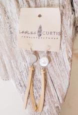 Leslie Curtis Jo Pearl & Sand Deerskin Tassel Earrings