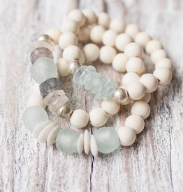 Leslie Curtis Gigi White Wooden Bracelets - Set of 3
