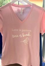 Love Is Patient V-Neck T-Shirt - Pink - Medium