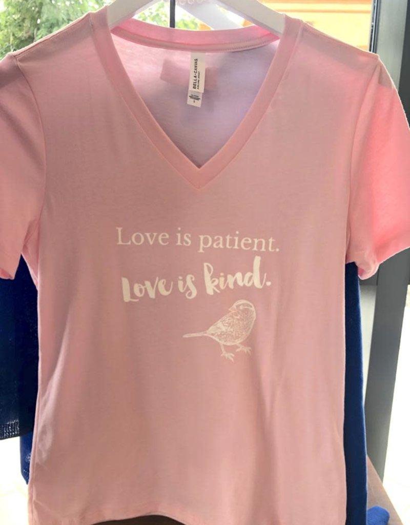 Love Is Patient V-Neck T-Shirt - Pink - Large