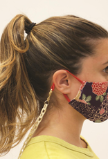 Floral Face Mask with Resin Rectangle Link Chain - Black