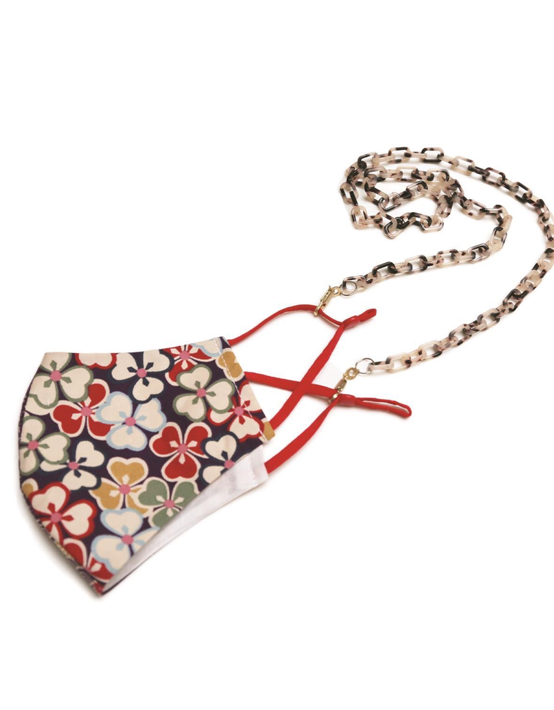 Floral Face Mask with Resin Rectangle Link Chain - Ivory