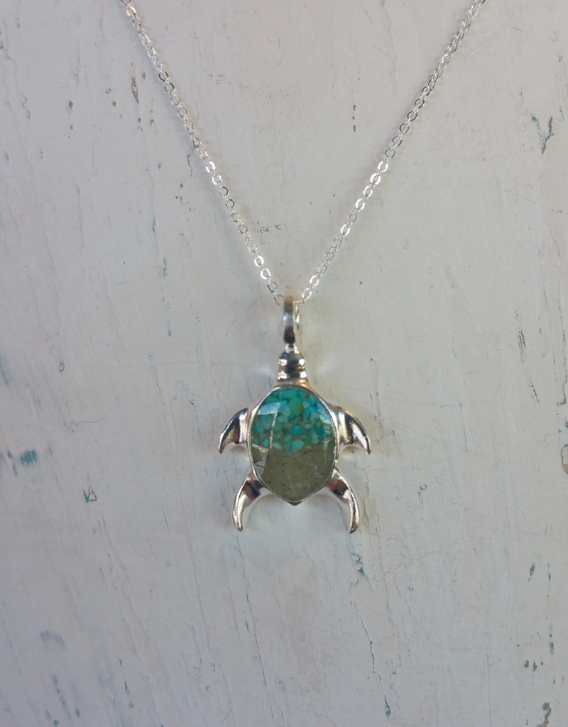 Dune Jewelry Sterling Turtle Necklace  - Gradient -  Gradient Crescent Beach & Turquoise