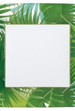 Caspari Palm Fronds Square Paper Dinner Plates in White - 8 Per Package