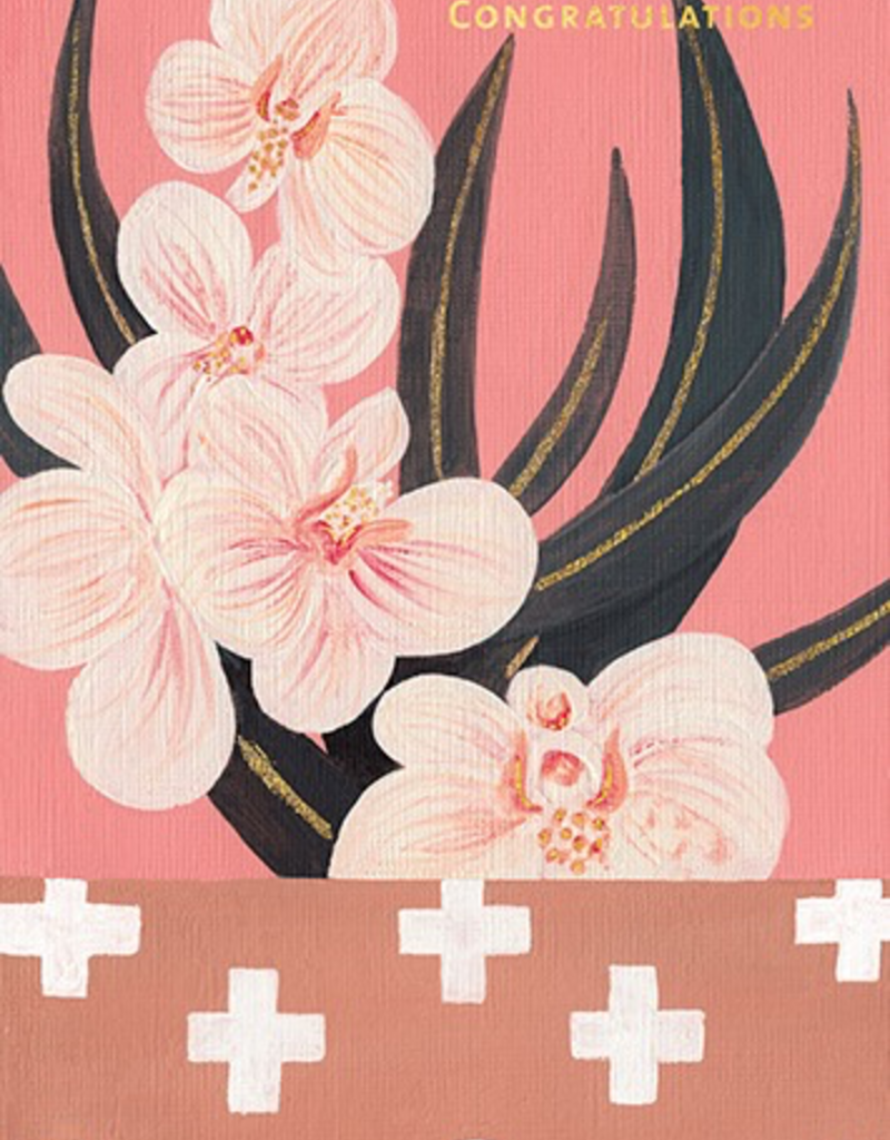Calaisio Orchids and Crosses Wedding Card