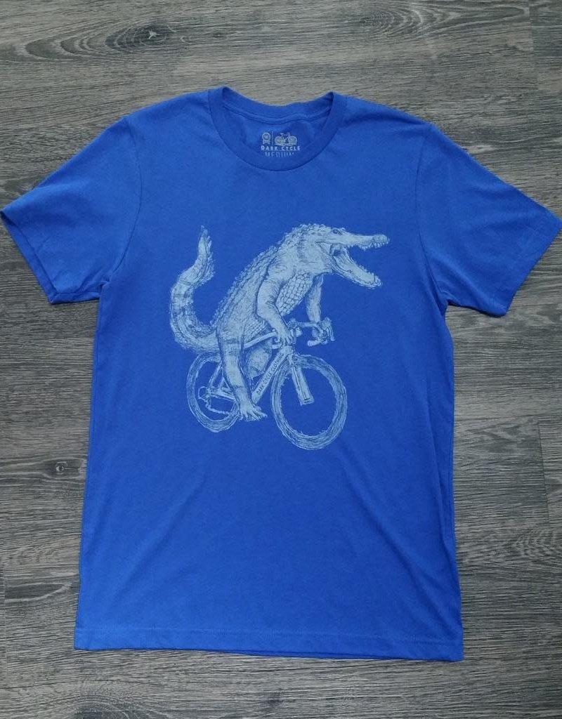 Alligator On A Bicycle Men's T-Shirt - Royal Blue - X-Large