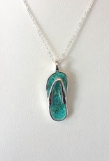 Dune Jewelry Sterling Flip Flop Necklace - Turquoise