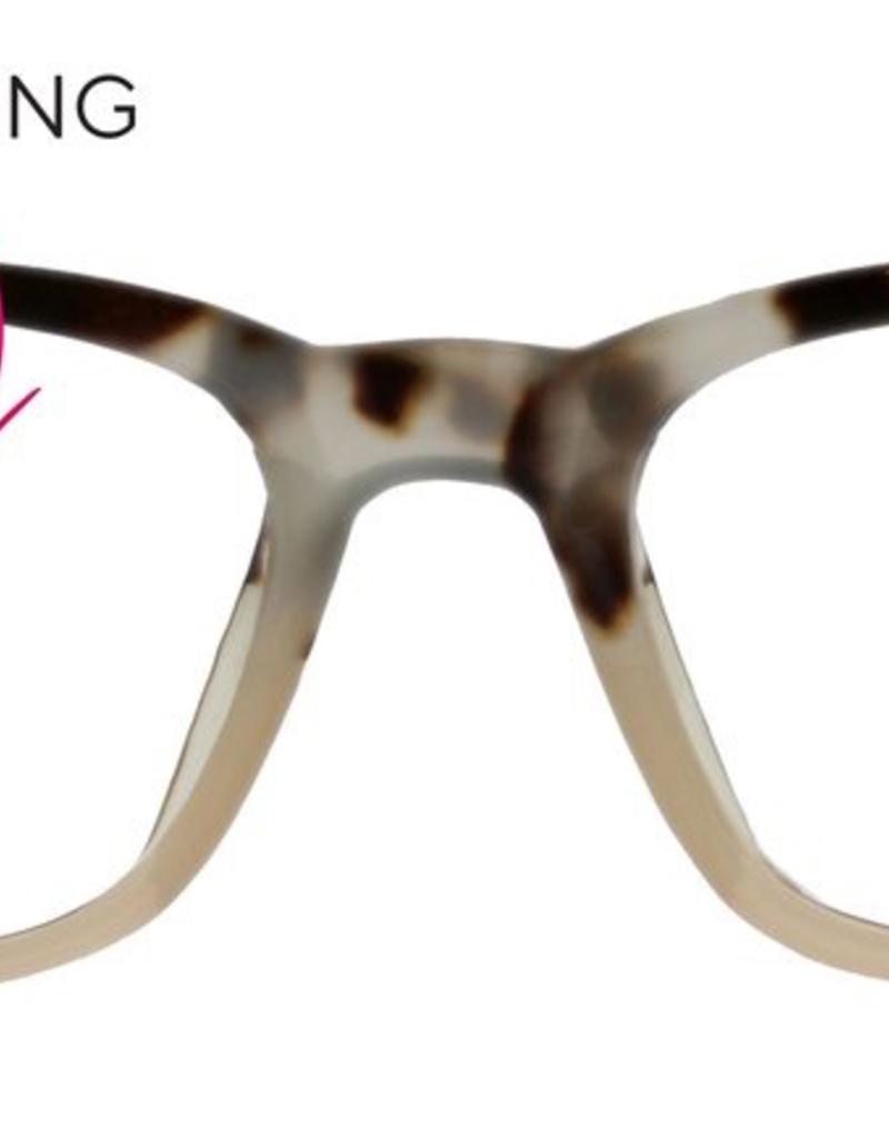Peepers Layover Reader - Grey Tortoise/Pink