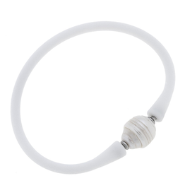 Bali Freshwater Pearl Silicone Bracelet in White