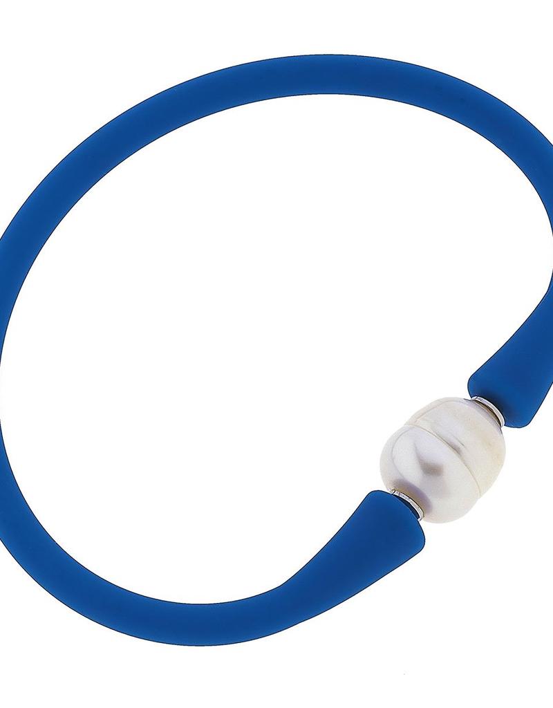 Bali Freshwater Pearl Silicone Bracelet in Blue
