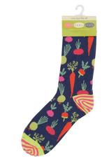 Root Veggies Blue Pair Of Crew Length Socks