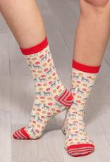 Winter Deer Grey Pair of Crew Length Socks