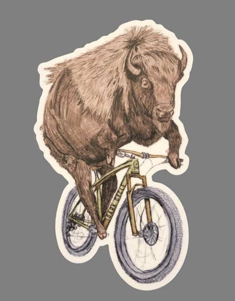 Buffalo On A Bicycle Vinyl Sticker