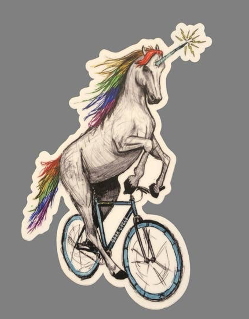 Unicorn On A Bicycle Vinyl Sticker