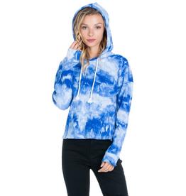 Blue Tie-Dye Wash Pullover Hoodie - Large