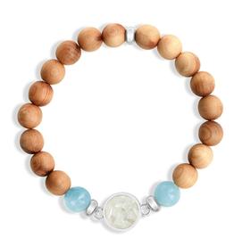 Dune Jewelry Round Beaded Bracelet - Cypress and Aquamarine - Cedar Key