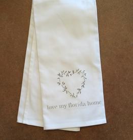 White Tea Towel - laurel heart/love my florida home