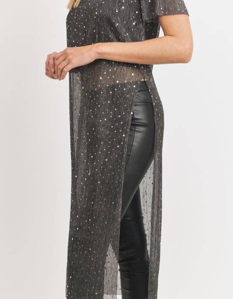 Lurex Sequins Tunic - Black - X-Large