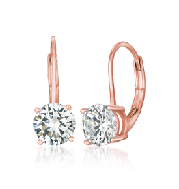 Crislu Solitaire Brilliant Cut Leverback Drop Earrings Finished in 18kt Rose Gold - 2 cttw