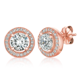 Crislu Brilliant Cut Stud Earrings Halo Earrings Finished in 18kt Rose Gold