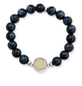 Dune Jewelry Men's Beaded Bracelet - Blue Tiger Eye - Crescent Beach