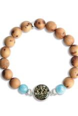 Dune Jewelry Men's Beaded Bracelet - Cypress and Aquamarine - Mussel Shell